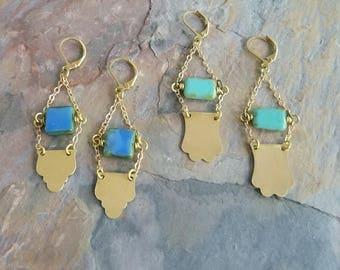 Brass Scroll Chain Earrings, Gold Dangles, Turquoise Blue, Periwinkle, Boho Bohemian