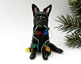Belgian Shepherd Christmas Ornament Figurine Lights Porcelain