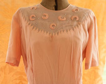 Vintage Dress - 1940s Blush Pink Rhinestones Moons