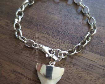 Shark Tooth Fossil Prionace Glauca Pendant Bracelet - Solid 925 Sterling Silver - Insurance Included