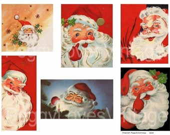 Santa 2 a Digital Collage from Vintage Greeting Christmas Cards - Instant Download