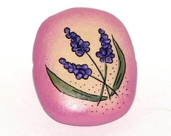 Wooden rectangular bead - Grape Hyacinths, hand painted, 35x25mm