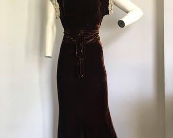 1930's Brown Silk Velvet dress