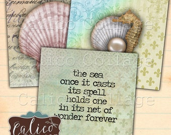 Printable, Seashell, Digital, Collage Sheet, 2x2 Inch Squares, Altered Art, Digital Download, Printable Images, Calico Collage, 2x2 Images