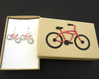 Red Bicycle Earrings. Sterling Silver Ear Wires.  In Handmade Gift Box.