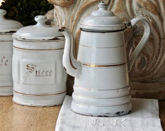 Lovely Vintage French White And Gold Enamel Coffee Pot