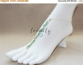 SUMMER SALE LOVMELY gold boho chic barefoot sandal /anklet 22k gold wire wrapped turquoise, coral, or white beads