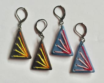 Embroidered triangular shaped earrings