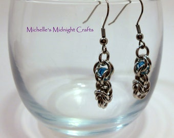Captive Half-Byzantine Chainmaille Earrings, Maille, Chain, Gift for Her, Dangle, Lightweight, Wife Gift Idea Christmas, Everyday Earrings