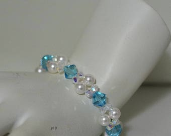 Swarovski Pearl & Crystal Jewelry - Bracelet - Bride, Bridesmaids, MOH, Party, Prom - Any Colors - Shown in Lt Turquoise with White Pearls