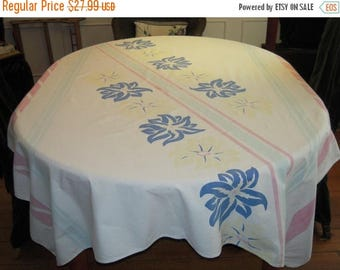 ON SALE Vintage Tablecloth Lovely Lilies and Stripes