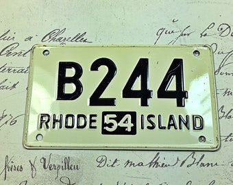 Small vintage  license plate cereal box Rhode Island RI car bike 1954