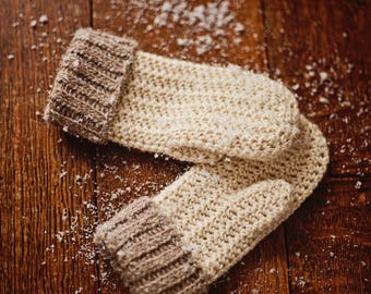 Crochet PATTERN  - Knit-look Mittens (sizes- baby to adult)