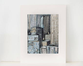 New York City Buildings-An original painting, collage,mixed media illustration, urban, modern art,picture, cityscape,monochromatic,blue,gray
