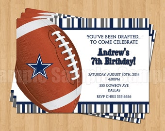 25 - PRINTED Cowboys Invitations with Envelopes Football NFL Birthday Party Personalized
