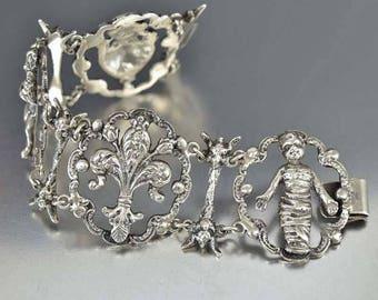 Antique Peruzzi Bracelet | Silver Fleur de Lis Cupid Gothic Bracelet | Mummy Amphora Italian Silver Victorian Bracelet | Coppini Bracelet