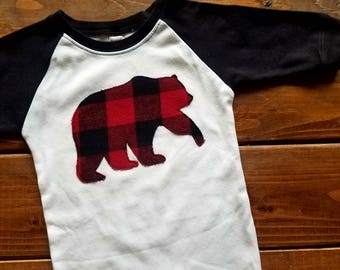 Christmas Infant Romper, Baby Holiday Outfit, Santa Visit Outfit, Baby Bear, Buffalo Plaid Fabric Bear, Christmas Pajamas, Ready to Ship