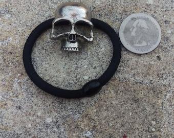 Silver Punk Skull Hair Tie Cuff Wrap Ponytail Holder Hair