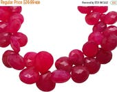 SALE Pink Chalcedony Briolette Beads, Pink Chalcedony, Fuscia Pink, 10-12mm, Heart Briolettes, SKU 5051