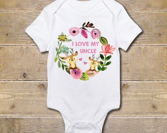 Uncle Onesie, Baby Girl, Gift from Uncle, Gift for Niece, Baby Shower Gift, Uncle Shirt, My Uncle Loves Me