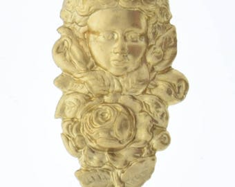 Brass stamping 44mm x 24mm x 7mm Victorian Girl with Rose repose in raw brass, sold by each 4103BR