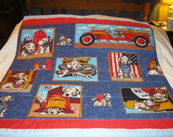 Handmade Baby Dalmations And Fire Truck Cotton Baby/Toddler Quilt - Newly Made2017