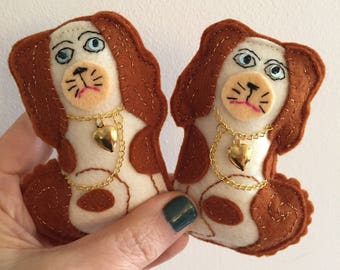 Pair of Staffordshire Dogs Brooches, Stuffed Brown and White Spaniel Pin