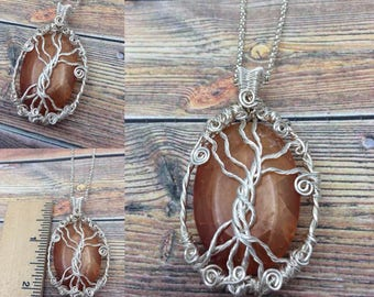 Fire Agate Gemstone Tree of Life Silver Wire Wrapped Necklace, Free USA Shipping, Inspirational Jewelry, Weaver's Roots Jewelry