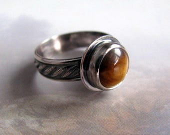 Sterling Silver Ring, Tigers Eye Ring, Patterned Ring Band, Oxidized Silver Ring, Gemstone Ring, Handmade Sterling Ring Size 8.5
