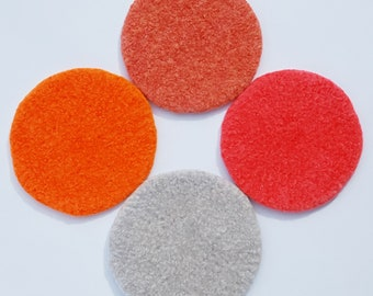 4 felted wool coasters: hot salmon!