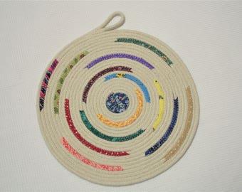 "Multicolor Coiled Rope Fabric Trivet - 8.5"" - Shabby Chic, Reversible, Mat, Pad, Hot Pad, Handmade, Mug Rug, Coaster, Bohemian"