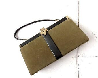 20% off sale Vintage 1960s Olive Green Handbag