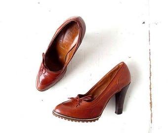 20% off sale Vintage 70s Heels | Brown Leather | High Heels | Size 6 1/2