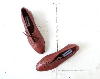 20% off sale Vintage Brown Leather Women's Oxfords Size 7 1/2