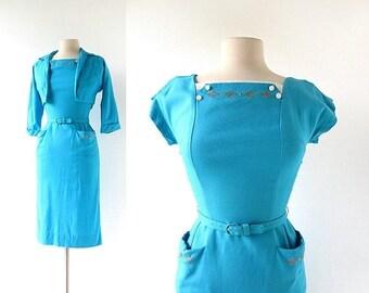 20% off sale 1950s Wiggle Dress   Aquatique   50s Dress   XXS XS