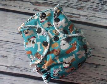 Newborn Fitted Cloth Diaper in Dogs