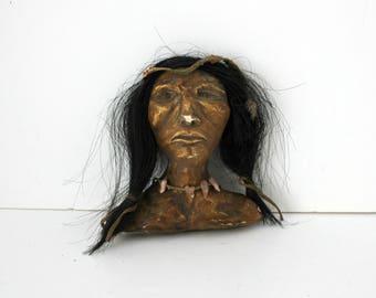 Native American Bust, Folk Art Plaster Mixed Media Small Bust