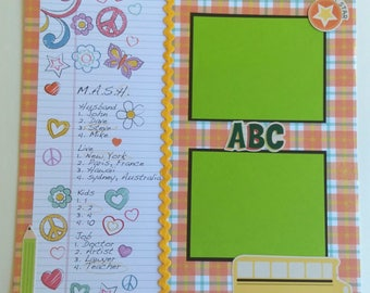 SALE! Scrapbook Album Page, 12x12 Quick Page, Elementary Grade High School,  yellow red green blue