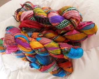100 grams 1 skein recycled  silk ribbon  knitting crochet craft embellishment yarn multi color patterned