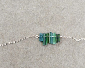 green blue tourmaline bar necklace pendant. rose gold  filled chain. natural tourmaline jewelry. tourmaline bar necklace