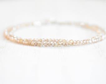 all champagne zircon bracelet.  tiny champagne zircon beaded wrap bracelet. sterling silver. delicate zircon wrap bracelet. zircon jewelry