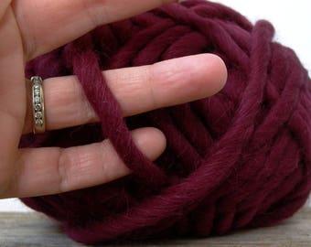 Gedifra Highland Alpaca super bulky wool yarn . plum wine 2933 . 45yd 100g . burgundy red-purple extra chunky luxury Peruvian new wool