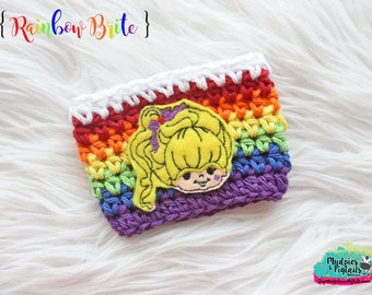 Retro girl Coffee Cup Cozy { Rainbow Brite } 80's cartoon character, accessories, crochet gift, mug sweater starbucks, water bottle, crochet