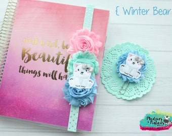 Christmas planner band { Winter Bear } aqua, pink, blue polar bear, planner clip, holiday, happy planner accessories bookmark, bible band