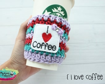 Crochet Mug Cup Cozy { I love Coffee } adulting mom life, knit mug sweater, cup sleeve starbucks, water bottle, crochet