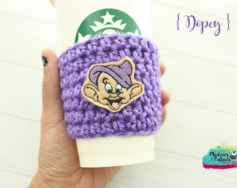 Seven Drawfs Cup Cozy { Dopey }  purple, crochet coffee sleeve, knit mug sweater, starbucks gift, frappuccino holder