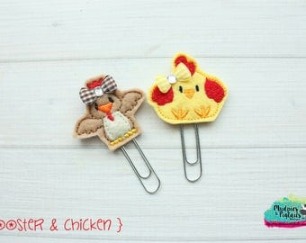 Planner Clip or Hair Clippies { Rooster & chicken } farm, animal Summer Paper Clips, Stationary, Birthday party favors, kikkik