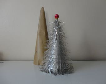 VINTAGE silver tinsel CHRISTMAS TREE - tabletop tree - compact small tree