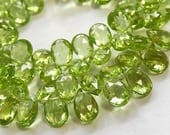 PERIDOT Gemstone Bead, Faceted Pear Briolette, Semi Precious Gemstone Briolette. 7mm. Pairs or Non Matching 1 to 12 Briolettes (53per).