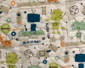 "Baby boy quilt, toddler quilt, lap quilt, robots flannel quilt, greens and teals, robot dog quilt, 39"" x 40"""